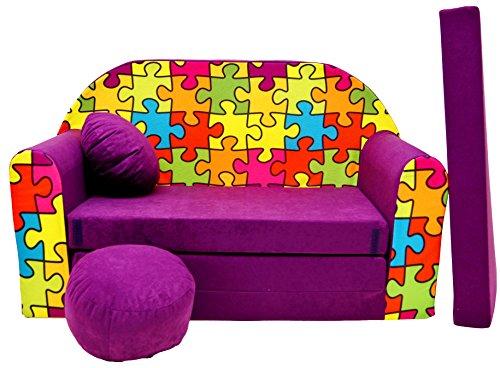 PRO COSMO G34Kinder Sofa Bett mit Puff/Fußbank/Kissen, Stoff, Mehrfarbig, 168x 98x 60cm