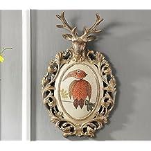 SQL Resina americana pastoral rústico creativa chapa dormitorio hogar pared ciervo cabeza colgante de pared joyas . b