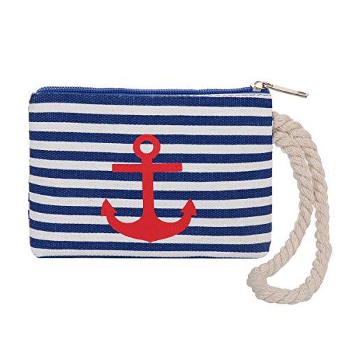 Sonia Originelli Geldbeutel Anker Mini Tasche Maritim Streifen Kordel Farbe Blau-Rot