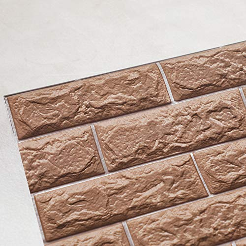 LZYMLG Rustikale Vintage 3D Faux Bricks Tapetenrolle Vinyl PVC Retro Industrie Loft Tapeten Rot Braun Grau Wasserdicht Waschbar Kaffee