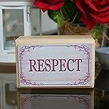 RESPEKT / RESPECT Holzzitat Blockzeichen (11 cm x 7 cm), Wohndekor, Kaminsims, Fensterbank, Schreibtisch oder Bücherregal Deko