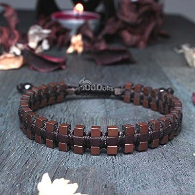 Mode tendance Sublime Bracelet Homme/Men's Style Shamballa Marron Cuir VÉRITABLE Perles Hématite aspect Mat cube 3mm Fait main - Maide in France
