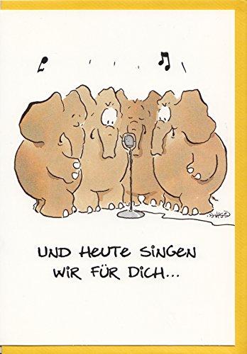 Witzige Geburtstagskarte Elefanten Wir singen für Dich