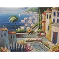 Aceite de pintura paisaje Hotel Anlage Alicante de Galerie. Mano óleo.