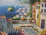 Aceite de pintura paisaje Hotel Anlage Alicante de Galerie. Mano óleo. 50x 50cm Top
