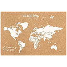 Decowood Handmade Mapa del Mundo Grande, Madera, Blanco, 90x60x3 cm