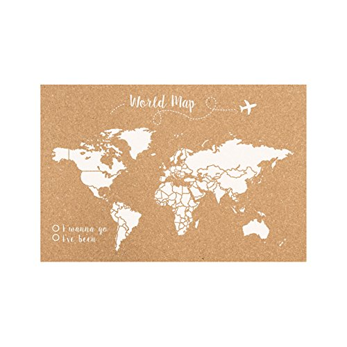 Decowood Handmade carte du monde petit, en bois, 60x 45x 3cm 60x45x3 cm blanc