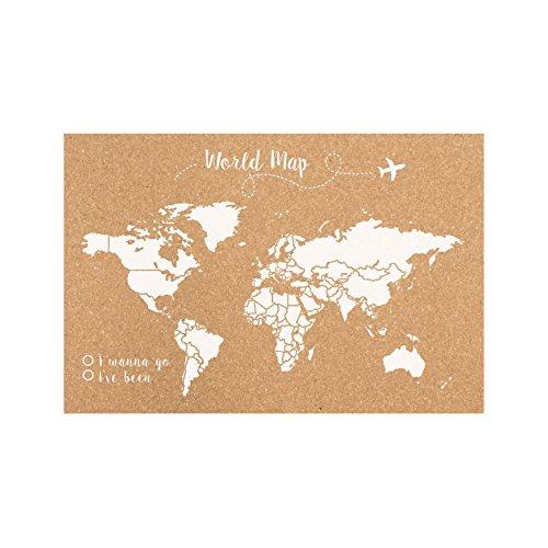 Decowood Mundo Mapa Mundi de Corcho para Pared Grande, Blanco, 90x60cm