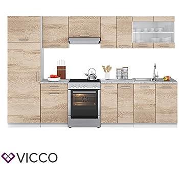 Vicco küche 310 cm küchenzeile küchenblock einbauküche eiche sonoma frei kombinierbare einheiten r line