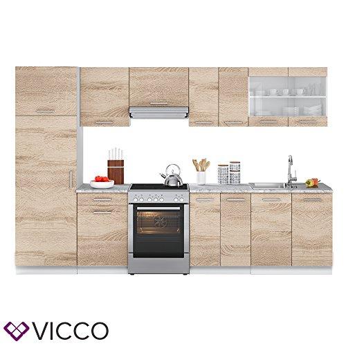 Vicco Küche Raul Küchenzeile Küchenblock Einbauküche 310 cm Sonoma - Frei Kombinierbare Einheiten -