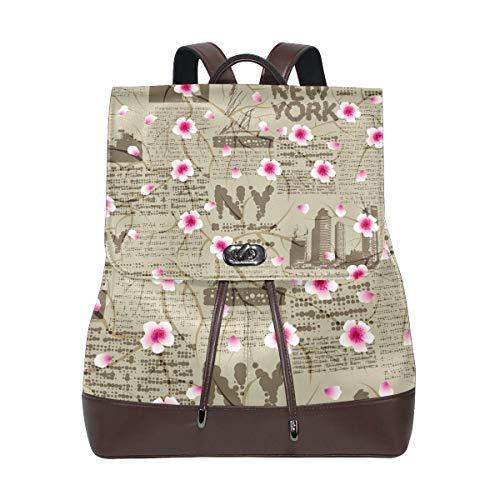 Flyup New York Cherry Blossom PU Leather Backpack Photo Custom Shoulder Bag School College Book Bag Rucksack Casual Daypacks for Women and Girl Frauen Leder Rucksack (Rebecca Spade York Kate New)