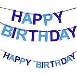 Oblique-Unique® Happy Birthday Girlande in Blau für Junge aus echtem Filz - Geburtstag Party Dekoration