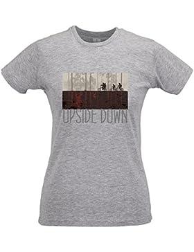 LaMAGLIERIA Camiseta Mujer Slim Upside Down Grey Print - T-Shirt Stranger Things Mike Lucas Dustin Eleven Will...