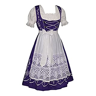 Dirndl Trachten Haus Women's 3-Piece Long German Dress 46 Purple