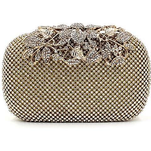 Da Wu Jia Ladies borsetta di alta qualità di lusso donne PU formale / evento/festa di nozze / sera Borsa/borsa/scintillanti diamanti borsa a mano/Strass/corona/frizione , golden