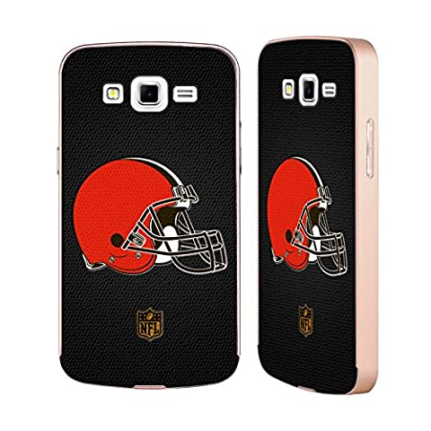 Officiel NFL Football Cleveland Browns Logo Or Étui Coque Aluminium Bumper Slider pour Samsung Galaxy Grand 2