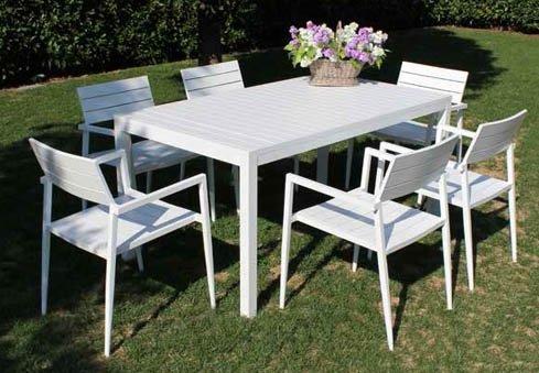 Arredo Giardino In Alluminio.Tavolo Nizza 160 X 90 Bianco In Alluminio Per Arredo Giardino E Esterno Mobili