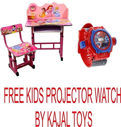 Kajal Toys™ Princess Character Kids Durable Study Table with Adjustable Height/Wooden Table Nice Quality/Best for Birthday Gift(Free Spiderman Projector Watch)