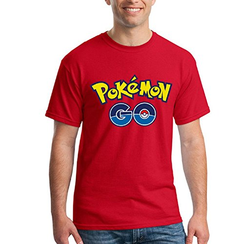 BOMOVO Herren Pokemon Go T-Shirt Housemark Graphic Tee Rot