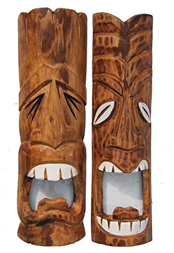2-Tiki-Mscaras-50-cm-en-Hawaii-Style-Juego-de-2-rstico-Look-Madera-Mscara-pared-Mscara-Isla-de-Pascua