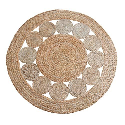Rund Leinen Teppich, Bequeme Baumwoll-Wearable Breathable Anti-Rutsch-Matte, Haus Dekoriert Gewebten Teppich for Wohnzimmer, Schlafzimmer