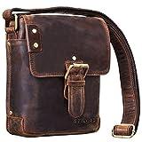STILORD 'Alessio' Leder Messenger Bag Männer klein Vintage Umhängetasche Herrentasche Tablettasche Schultertasche aus echtem Leder, Farbe:Zamora - braun