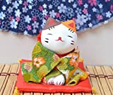 Whyyudan Decorazione Kimono Giapponese Lucky Cat Mini Doll Car Ornaments