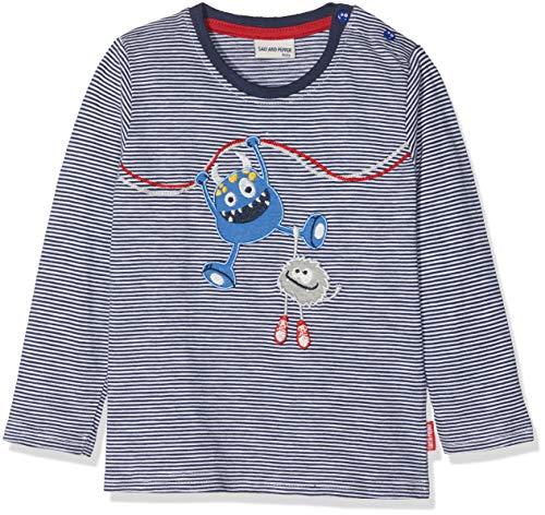 SALT AND PEPPER SALT AND PEPPER Baby-Jungen Langarmshirt B Longsleeve Monster Stripe Blau (Navy 456) 68