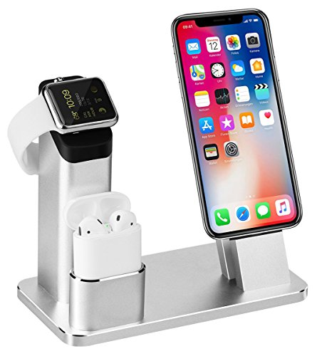 Apple Watch Stand, Aluminum 3 in 1 Apple Watch iPhone Airpods Ständer Ladestation von TOFURT Docking Station für Apple Watch Series 3/2/1/ AirPods/ iPhone X/8/8Plus/7/7 Plus /6S /6S Plus/ipad,Silber (Iphone-apple Watch)