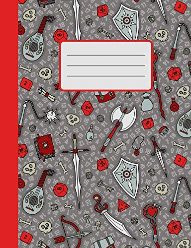 RPG Quest in Red & Gray: Dot Grid Gaming Notebook