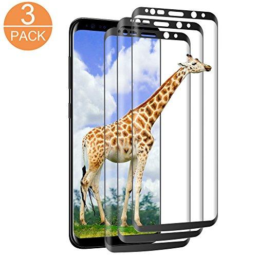 Galleria fotografica InteCasa [3 Pack] Pellicola Protettiva per Samsung Galaxy S9/S8, Vetro Temperato Tempered Glass Screen Protector, 9H Durezza,Ultra Resistente, Anti-Bubbles per Samsung Galaxy S9/S8- Nero