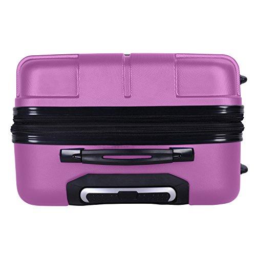 SHAIK® SERIE RAZZER SH002 3-tlg. DESIGN PMI Hartschalen Kofferset, Trolley, Koffer, Reisekoffer, 50/80/120 Liter, 4 Doppelrollen, 25% mehr Volumen durch Dehnfalte (Violett, Set) - 8