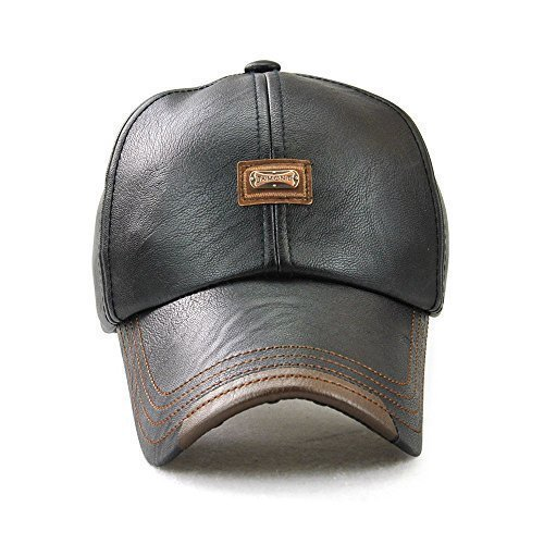 3b1e94096e2 JAMONT Plain Leather Baseball Cap with Adjustable Strap for Men Women  Relaxed Outdoor