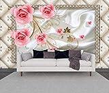 Fototapete 3D Effekt Tapete Rose Reben Rahmen Europäischen Vliestapete 3D Wallpaper Moderne Wanddeko Wandbilder