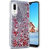 Robinsoni Cover per Huawei P20 Custodia Flessibile Huawei P20 Case Silicone TPU Specchio Caso Glitter Liquid Sabbie Sabbie Mobili Case Antiurto Case Bumper Protettiva Cover,Rosso