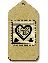Azeeda 10 x Sello Candado Corazón 66mm x 34mm Regalo/Equipaje Etiquetas (