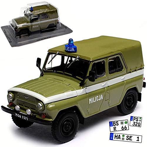 UAZ 469 Milicja Militär Arme Polen Grün 1/43 Modellcarsonline Modell Auto mit individiuellem Wunschkennzeichen -