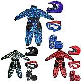 Leopard LEO-X15 Azul Casco de Motocross para Niños (S 49-50cm) + Gafas + Guantes (S 5cm) + Camo Traje de Motocross para Niños - L (9-10 Años)