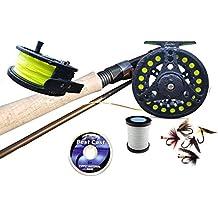 "Pesca con mosca Kit Carrete de caña de pescar cargado flotante línea, respaldo, líder y moscas 8'6""# 7/8"