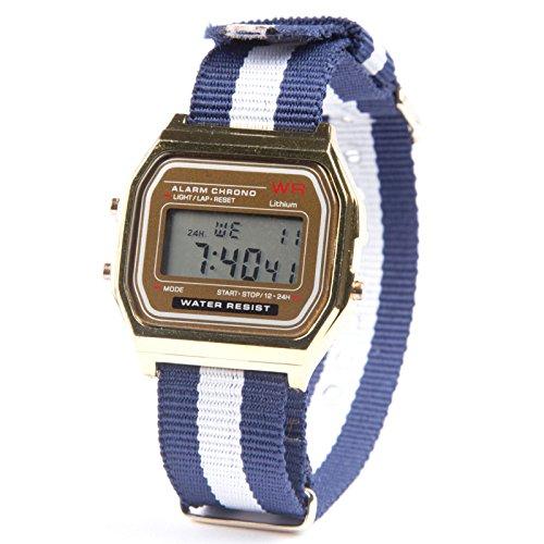 "Kim Johanson Damen Vintage Armbanduhr \""Las Vegas\"" Digital Quarz Uhr in Gold inkl. Schmuckbeutel"