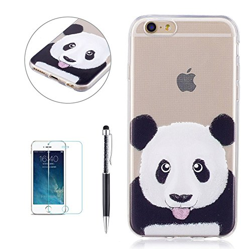 Cover Custodia per iPhone 6 Plus / iPhone 6S Plus, Hancda TPU Ultra Sottile Copertura Bumper Custodia Trasparente in Silicone Antiurto Resistente Colorate Gomma Gel Case Antishock Morbida Cassa Cover  Panda