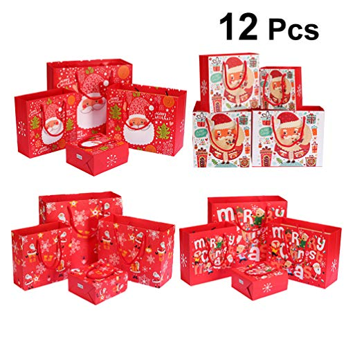 NUOBESTY 12pcs Christmas Gift Bags Paper Santa Candy Packing Pouch Cookies Wine Wrapping Tote Bags for Shop Festive Holiday Wedding Party Favors