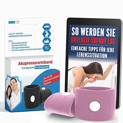 Akupressur Armband gegen Übelkeit - Ideal für Schwangerschaftsübelkeit, Seekrankheit, Reiseübelkeit (Rosa) + E-Book: So werden Sie Übelkeit sofort los!