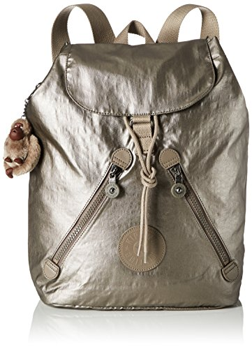 Kipling Damen FUNDAMENTAL Rucksack, Gold (Metallic Pewter), 42x42x16.5 cm -