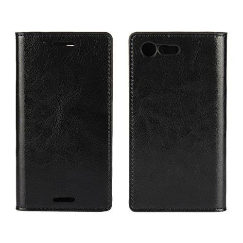 Sony Xperia X Compact Casefirst Premium PU Leder Tasche Handycover Bumper Tasche Mit Standfunktion Kartenfach Wallet Handyhülle Ultra Dünn Extrem Hoher Fallschutz Schutzhülle für Sony Xperia X Compact (Schwarz) 0k Compact
