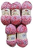 5 x 100 Gramm Babywolle 80405 pink rosa lachs blau lila, 500 Gramm Wolle Super Bulky zum Stricken und Häkeln