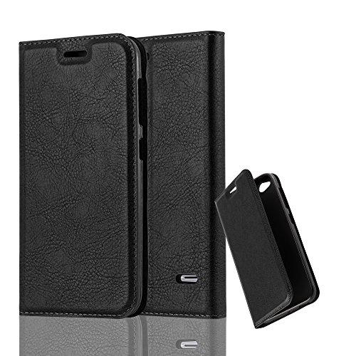 Cadorabo Hülle für ZTE Blade S6 - Hülle in Nacht SCHWARZ - Handyhülle mit Magnetverschluss, Standfunktion & Kartenfach - Case Cover Schutzhülle Etui Tasche Book Klapp Style
