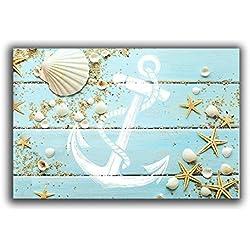 Jkimiiscute - Felpudos Náuticos con Diseño de Playa – Concha de Mar, Estrella de Mar, Ancla, Alfombra de Interior DE 60 x 40 cm, Largo x Ancho