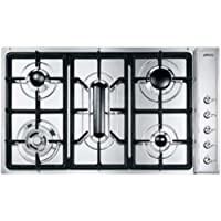 Smeg E93SGH3 - Placa (Integrado, Gas, Acero inoxidable, Giratorio, 86 cm, 50 cm)