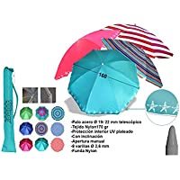 SOMBRILLA PARASOL POLINYLON 160CM DIAMETRO TUBO 16/22 PROTECCION UV COLORES SURTIDOS